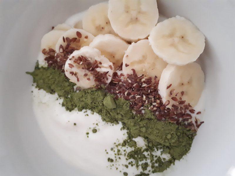 recept yoghurt banaan lijnzaad matcha